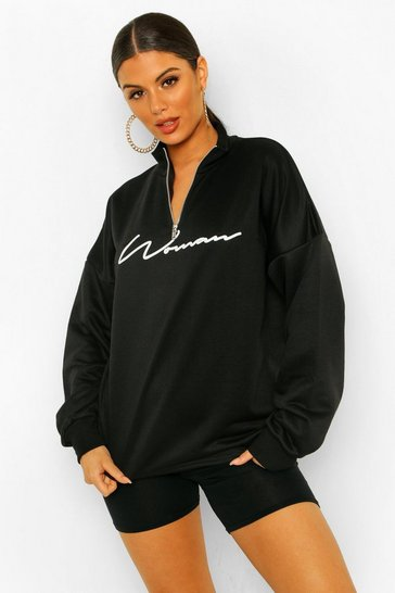 Black Woman Slogan Rib Neck Zip Sweatshirt