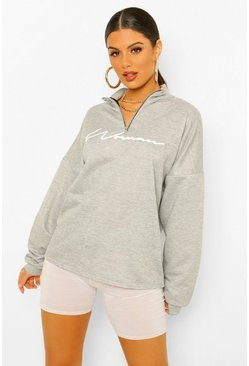 Grey marl grey Woman Slogan Rib Neck Zip Sweatshirt