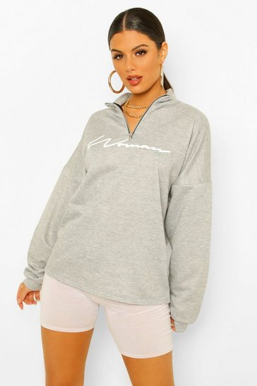 Grey marl grey Grey Woman Slogan Rib Neck Zip Sweatshirt