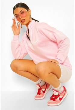 Pastel pink Woman Slogan Rib Neck Zip Sweatshirt
