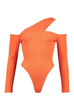 Orange Ribbed Cut Out Long Sleeve Bodysuit