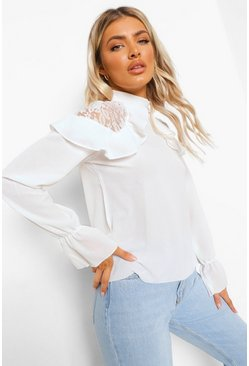 Wit white Geweven Blouse Met Ruches met Kanten Detail