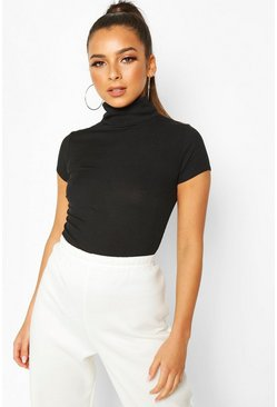 Black Rib Roll Neck Cap Sleeve Top