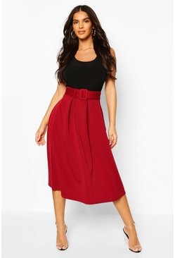 Berry red Self Fabric Belted Pleat Midi Skirt