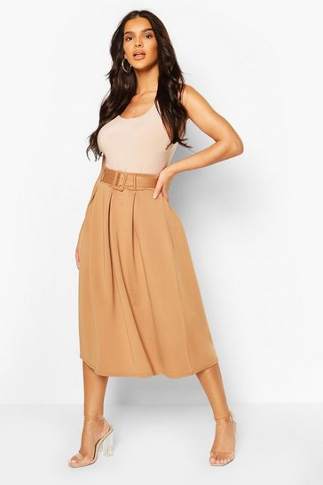 Camel beige Self Fabric Belted Pleat Midi Skirt
