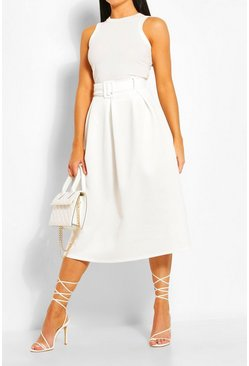 Ivory white Self Fabric Belted Pleat Midi Skirt
