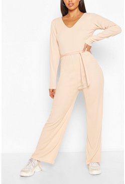 Nude Ribbed Long Sleeve Tie Waist Jumpsuit