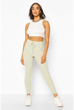 Sage green Basic Ribbed Tie Waist Leggings