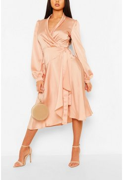 Blush pink Satin Wrap Detail Midi Skater Dress