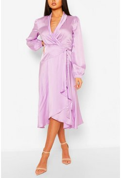 Lilac purple Satin Wrap Detail Midi Skater Dress