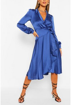Cobalt Satin Wrap Detail Midi Skater Dress