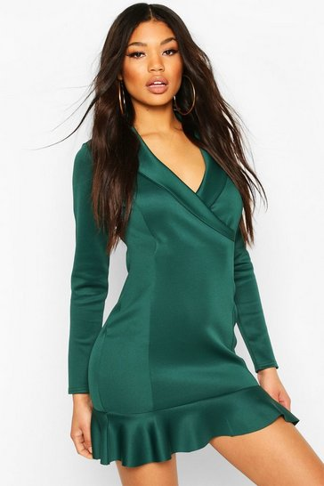 Forest green Fishtail Wrap Mini Tailored Dress