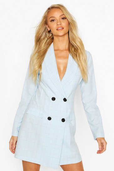 Pastel blue Check Tailored Blazer Dress