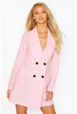 Pastel pink pink Check Tailored Blazer Dress