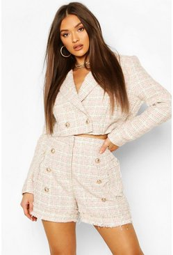 Boucle Cropped Blazer & Tailored Shorts Suit Set