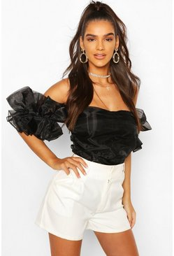 Black Organza Ruffle Off The Shoulder Bodysuit