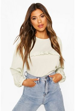 Sage green Puff Sleeve Ruffle Front Top