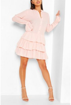 Blush pink Ruffle Hem Shirt Dress