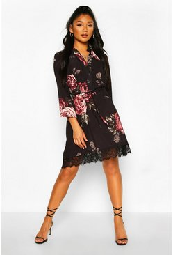 Black Floral Lace Hem Belted Shirt Dress