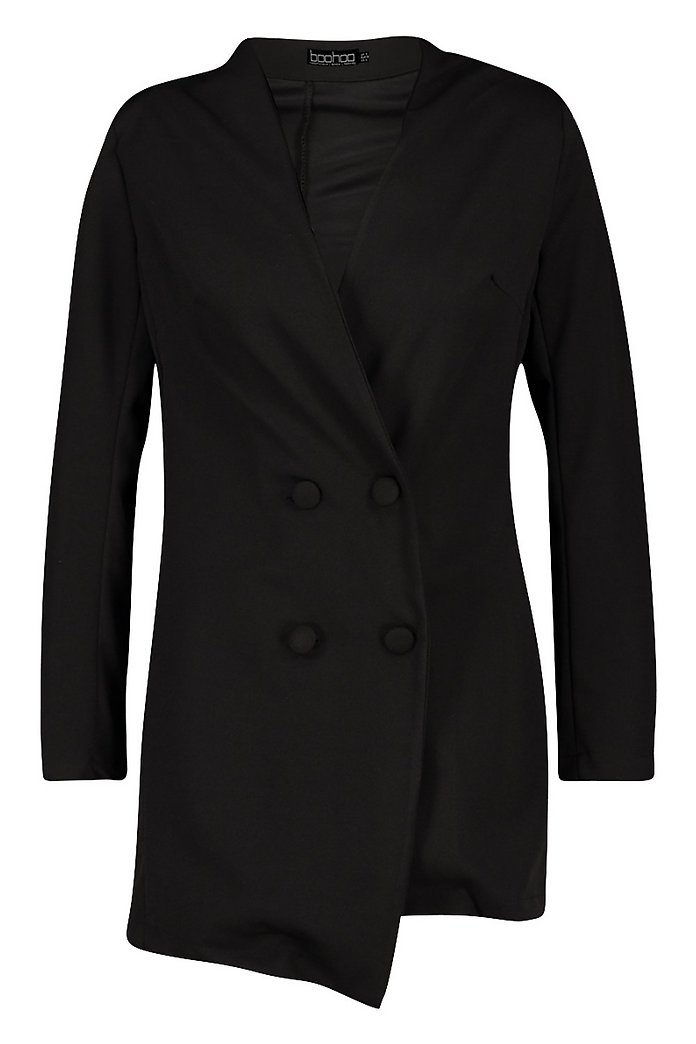 Robe blazer sans col à double patte de boutonnage | boohoo