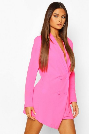 Neon-pink pink Collarless Double Breasted Blazer Dress