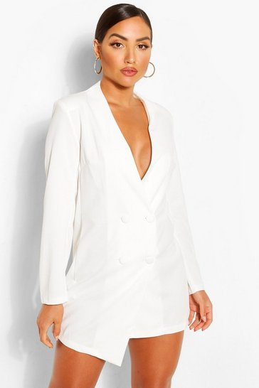 White Collarless Double Breasted Blazer Dress