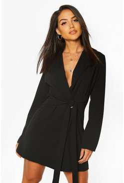 Black Wrap Belted Blazer Dress