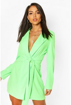 Neon-green neon Wrap Belted Blazer Dress