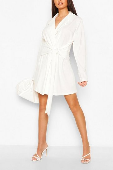 White Wrap Belted Blazer Dress