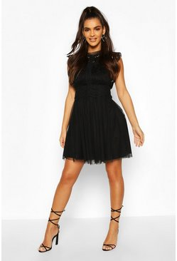 Black Crochet Lace Sleeveless Skater Dress