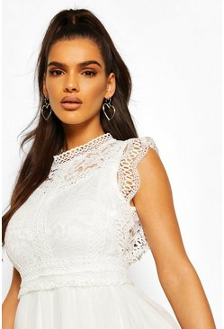White Crochet Lace Sleeveless Skater Dress