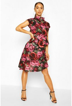 Red Rose Print Cowl Neck Open Back Midi Skater Dress