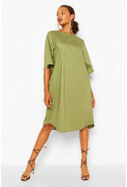 Khaki Cotton Roll Sleeve Oversized Midi Dress