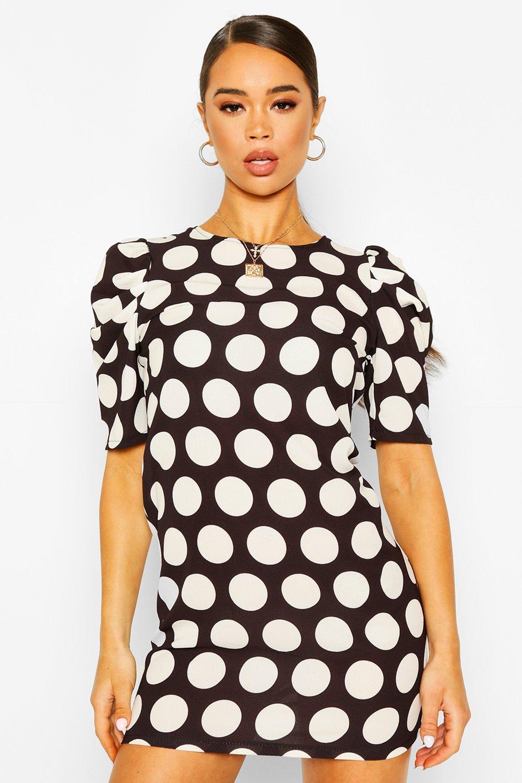 Polka Dot Puff Sleeve Shift Dress