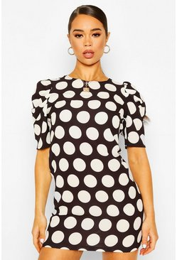 Black Polka Dot Puff Sleeve Shift Dress