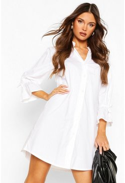 White Cotton Collarless Flute Sleeve Shift Dress