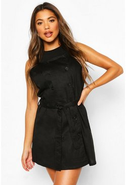 Black Button Strappy Pinafore Dress