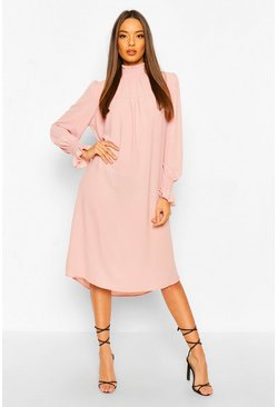 Blush pink Shirred Neck Midi Skater Dress