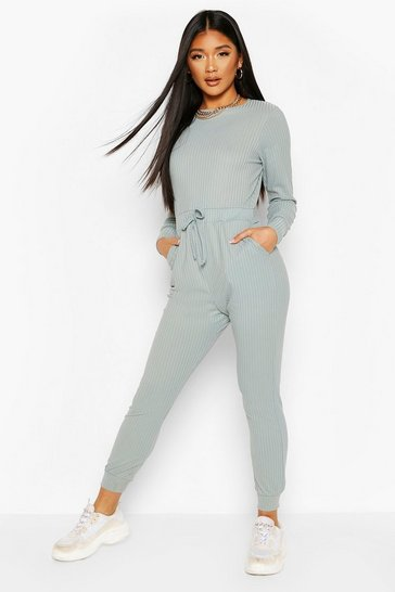 Duck egg Ribbed Tie Waist Long Sleeve Jumpsuit