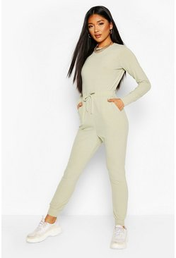 Sage green Ribbed Tie Waist Long Sleeve Jumpsuit