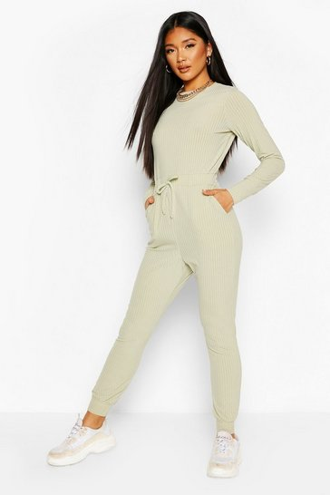 Sage Ribbed Tie Waist Long Sleeve Jumpsuit