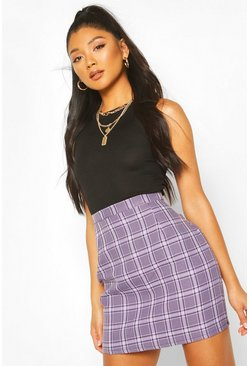 Lilac purple Pastel Check A Line Mini Skirt