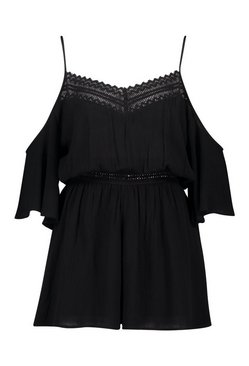 Black Lace Detail Crochet Cold Shoulder Playsuit