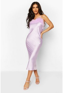 Lilac purple Feather Trim Bias Cut Slip Dress