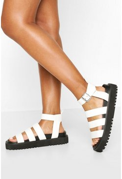 White Triple Strap Chunky Footbed Sandals