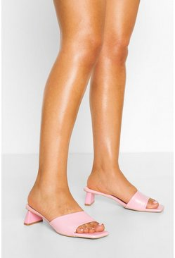 Pink Square Toe Low Heel Mules