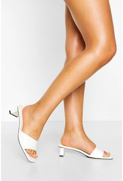 White Square Toe Low Heel Mules