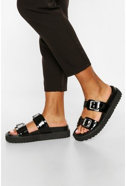 Black Double Strap Chunky Footbed Sliders
