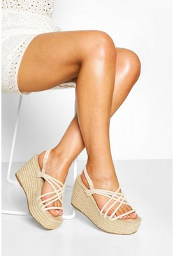 Beige Woven Strappy Espadrille Wedges