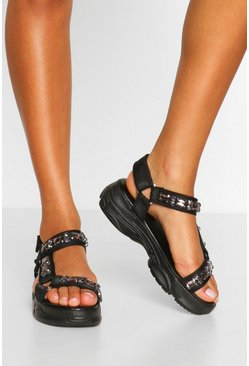Black Embellished Sports Foot Bed Sandals